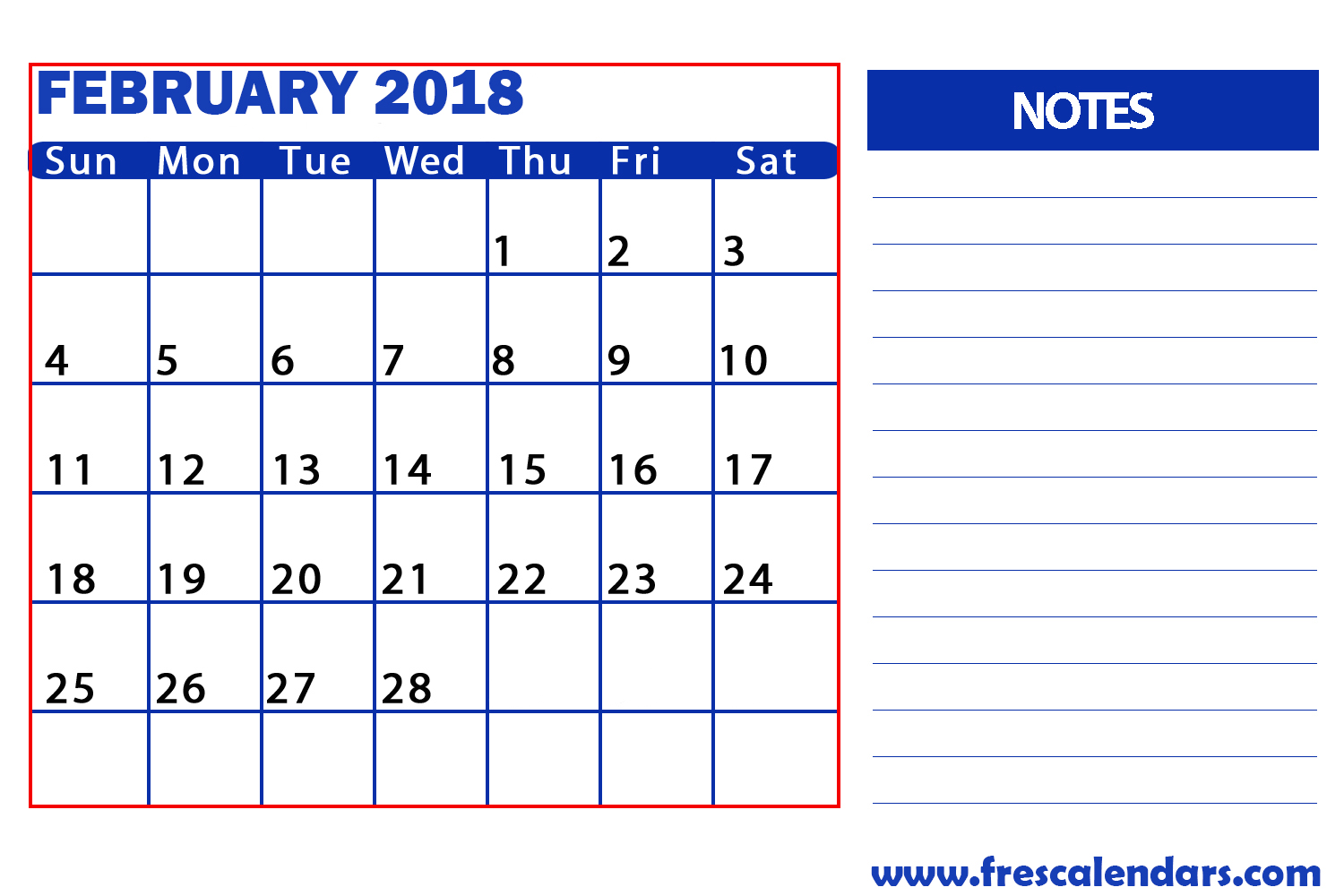 February 2018 Calendar With Notes Space