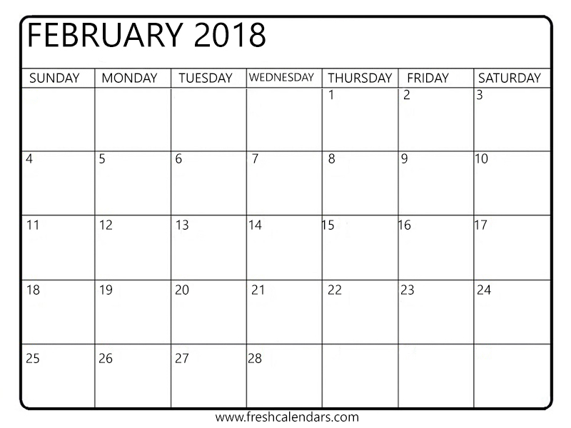 picture about Printable February Calendar referred to as February 2018 Calendar Printable - Clean Calendars