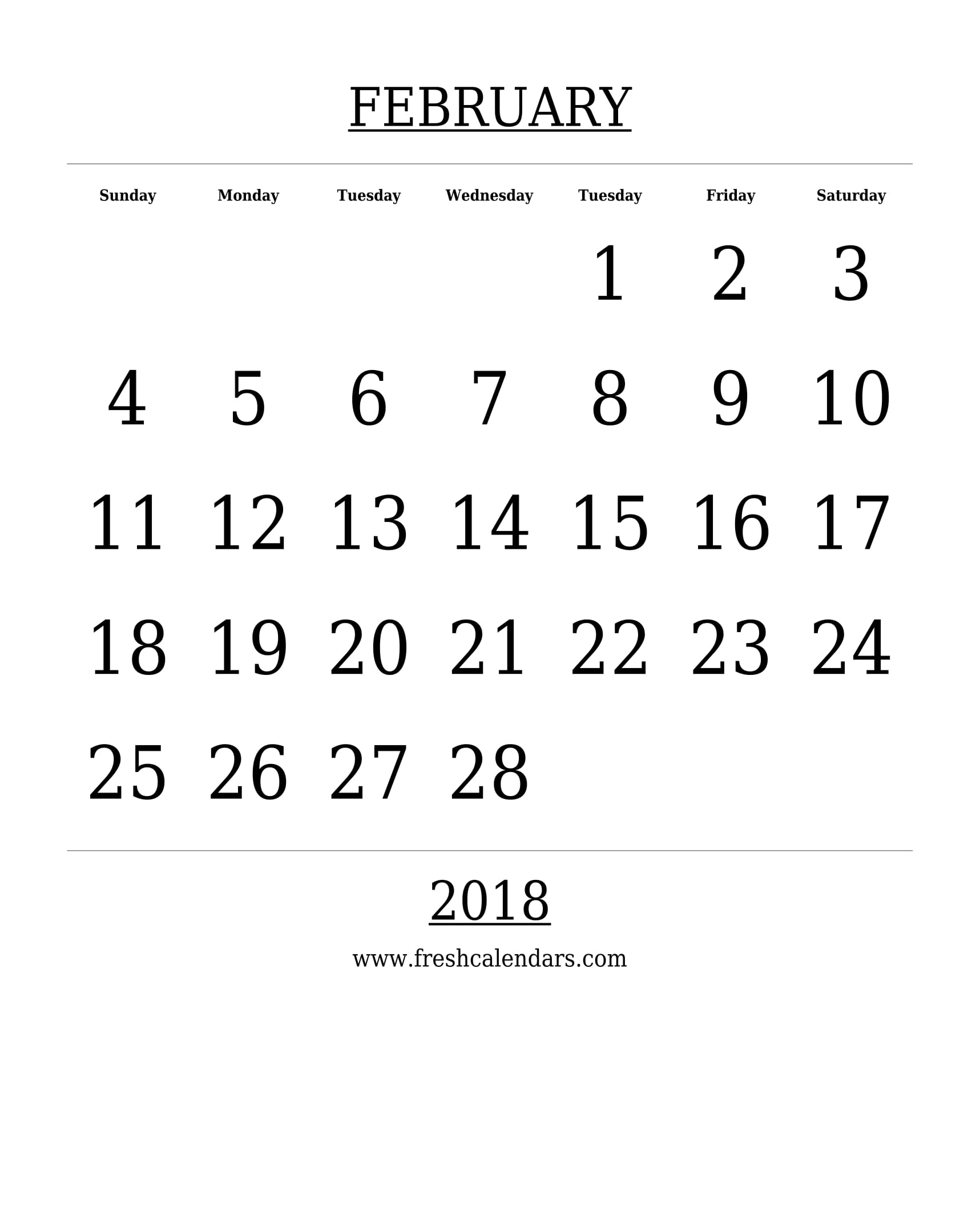 15+ Best February 2018 Calendar Printable Templates