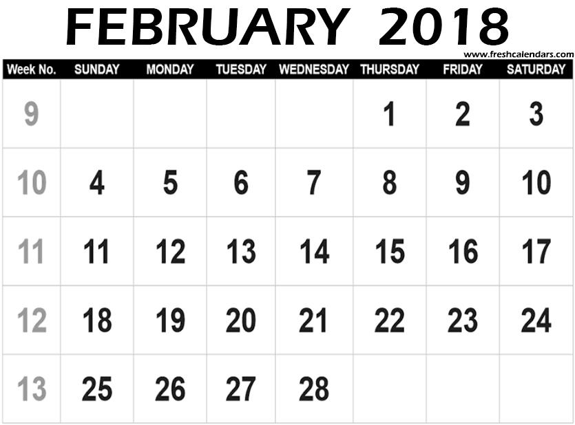 February 2019 Calendar Big Numbers February 2018 Calendar Printable   Fresh Calendars