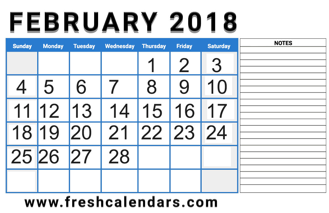 Professional 2018 February Calendar With Notes Layout