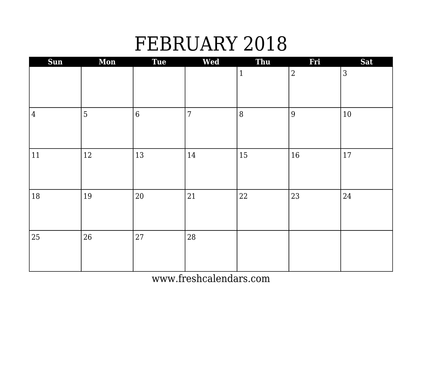 simple and strong february 2018 calendar printable template