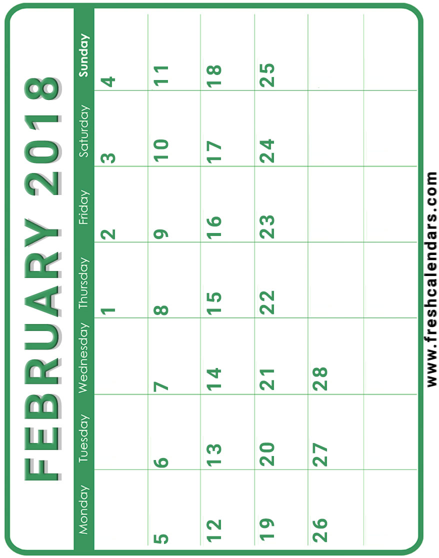 Calendar Templates Vertical : February calendar printable templates
