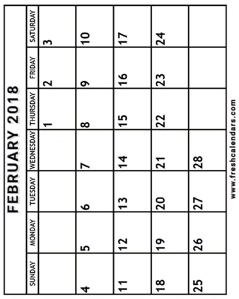 printable calendar: Printable February 2018 Calendar