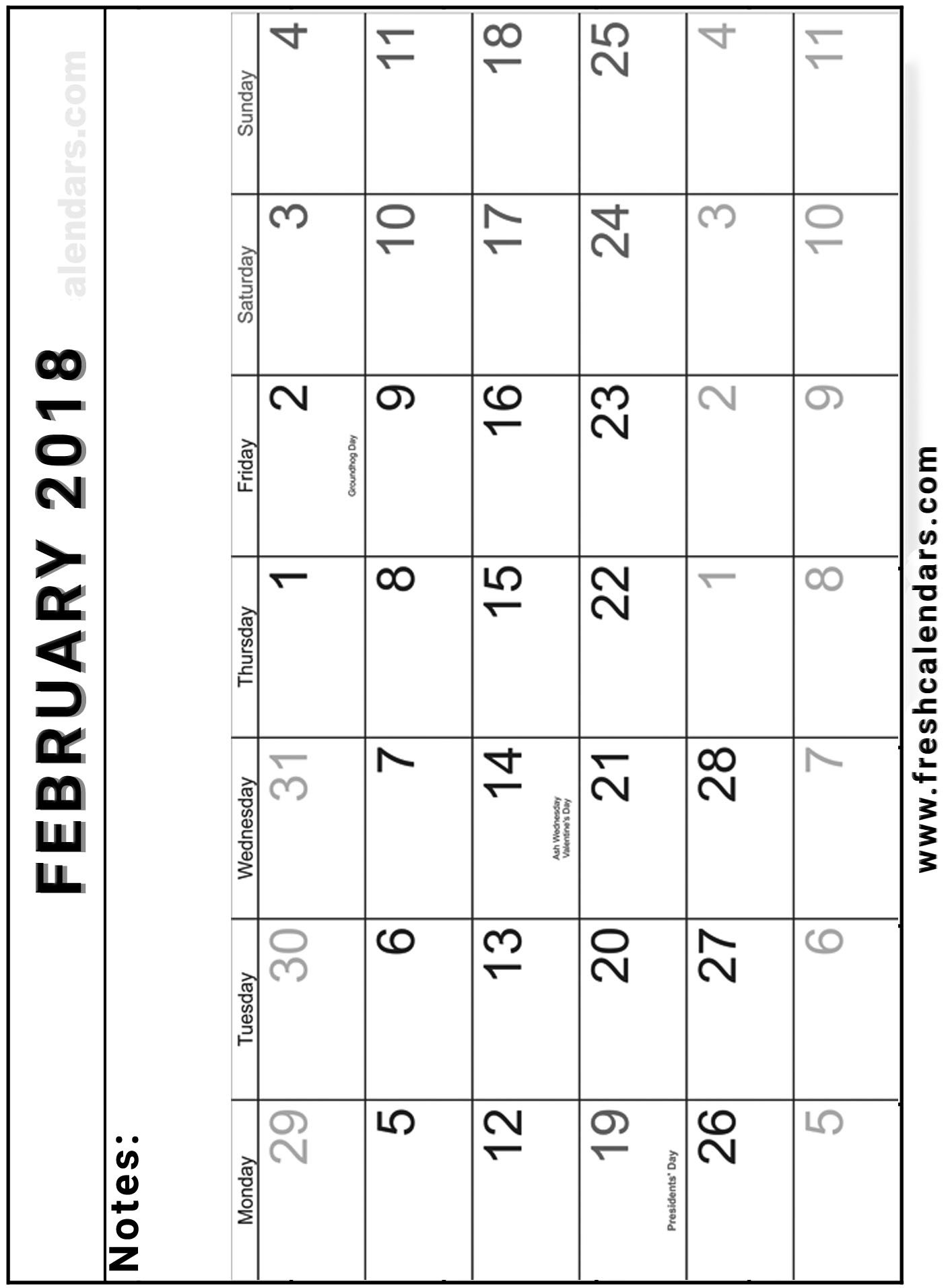 vertical february 2018 calendar with holidays and notes space