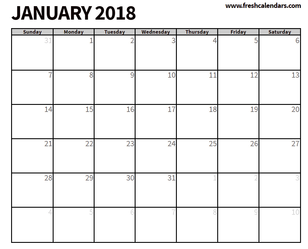 2018 January Calendar Free Printable Format HD