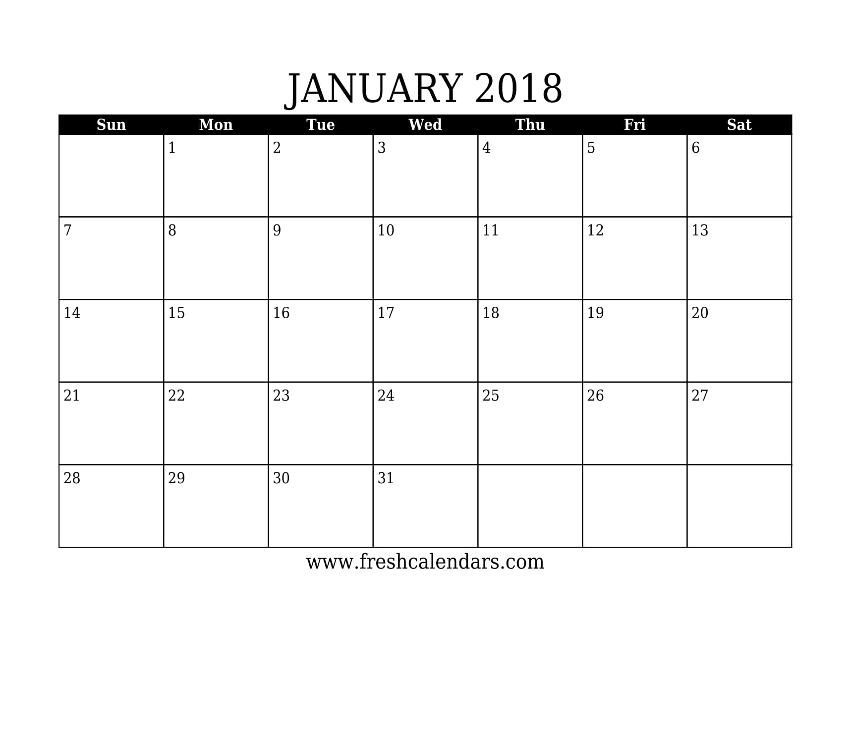 basic and strong january 2018 calendar printable template