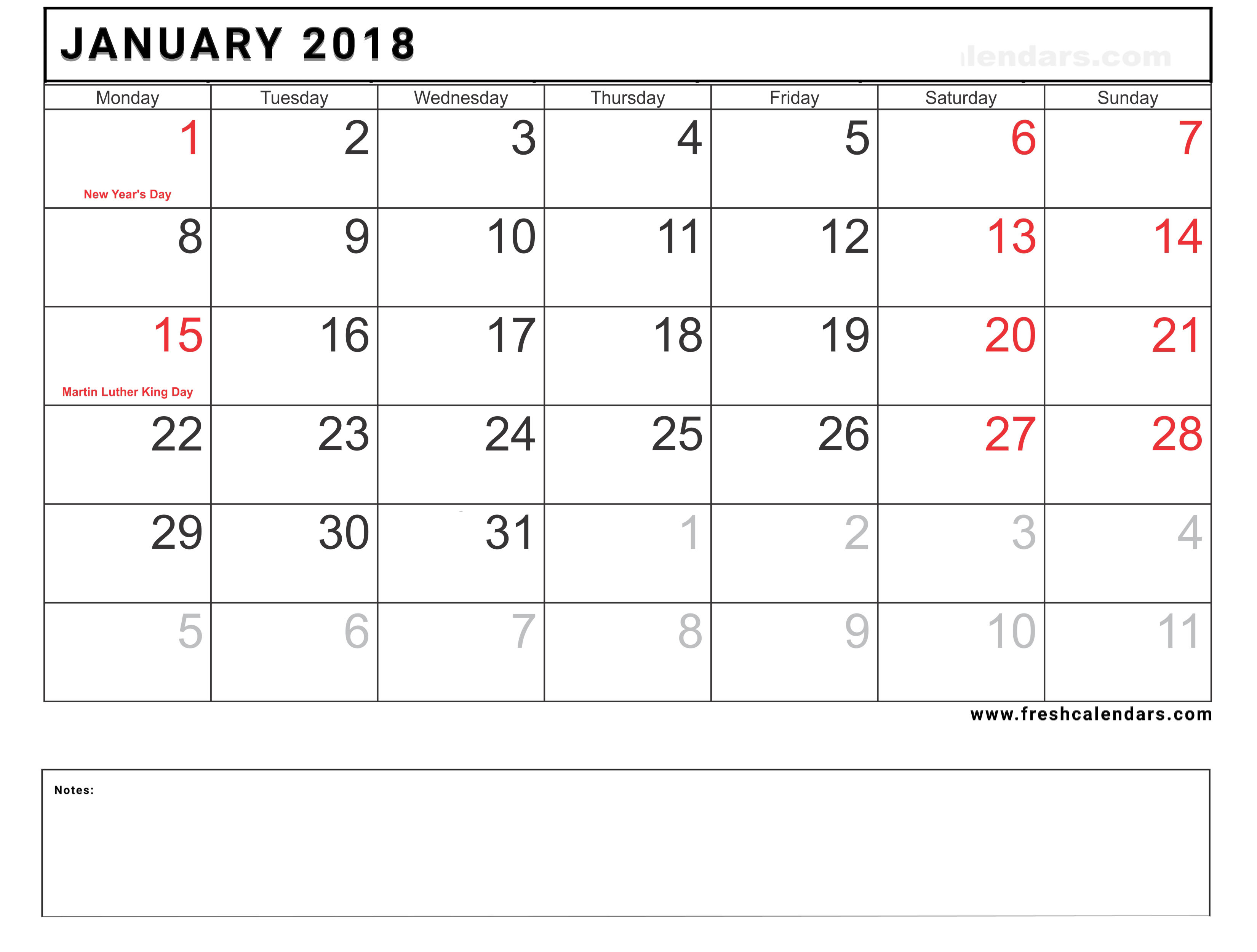 blank january 2018 calendar printable with holidays and notes