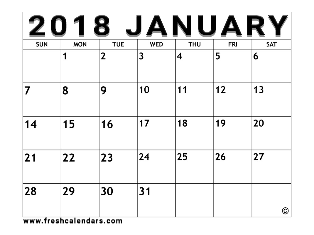 free january printable 2018 calendar template