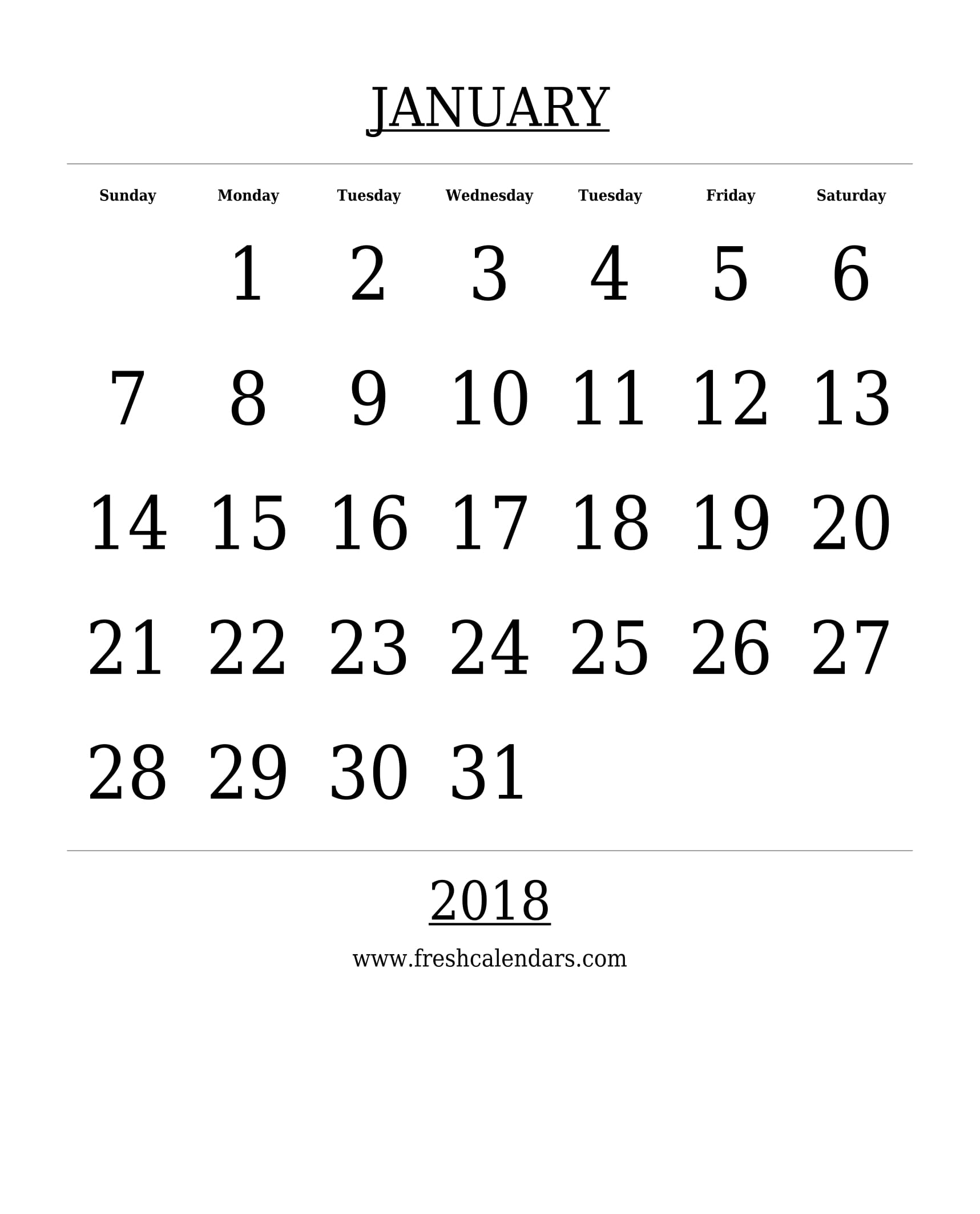 Free Printable Template January 2018 Calendar Bold Style