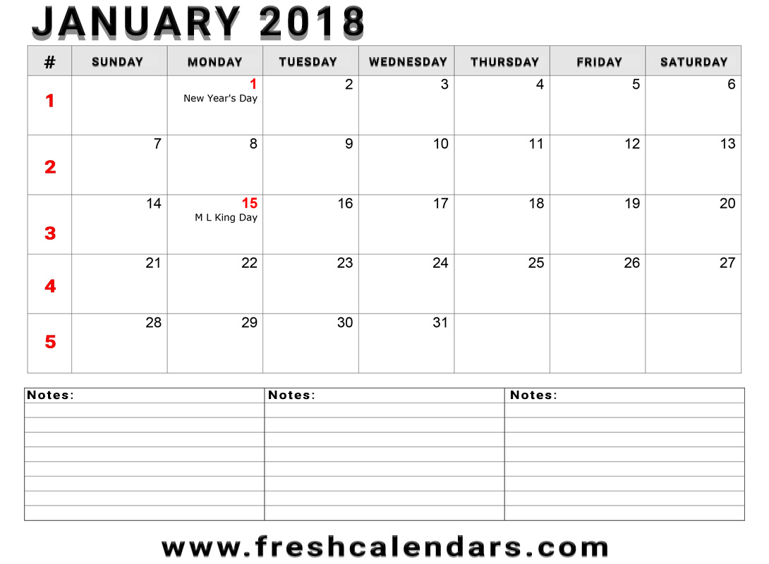 Jan 2018 Calendar With Extra Notes Holidays and Week Number For Free