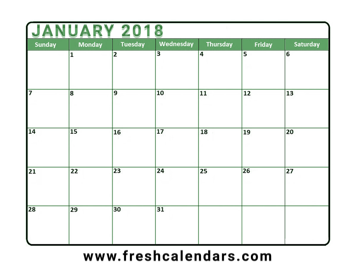 January 2018 Calendar Free Download Template
