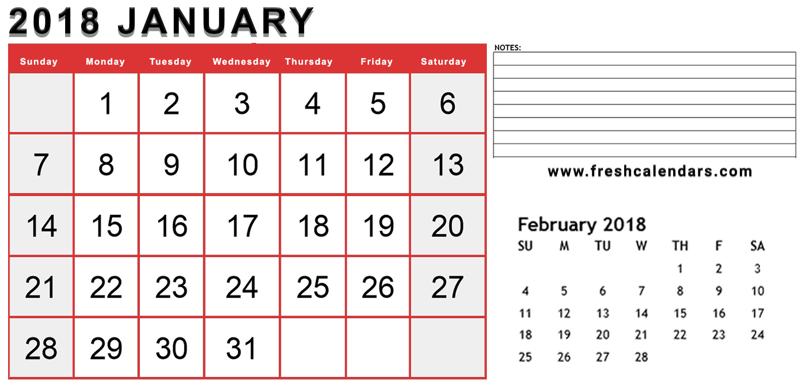 January 2018 Red Calendar 2 Months With Notes