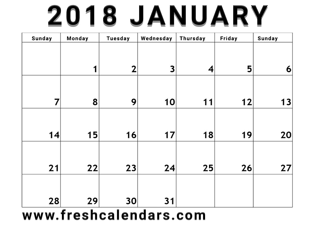simple and strong january 2018 calendar printable template