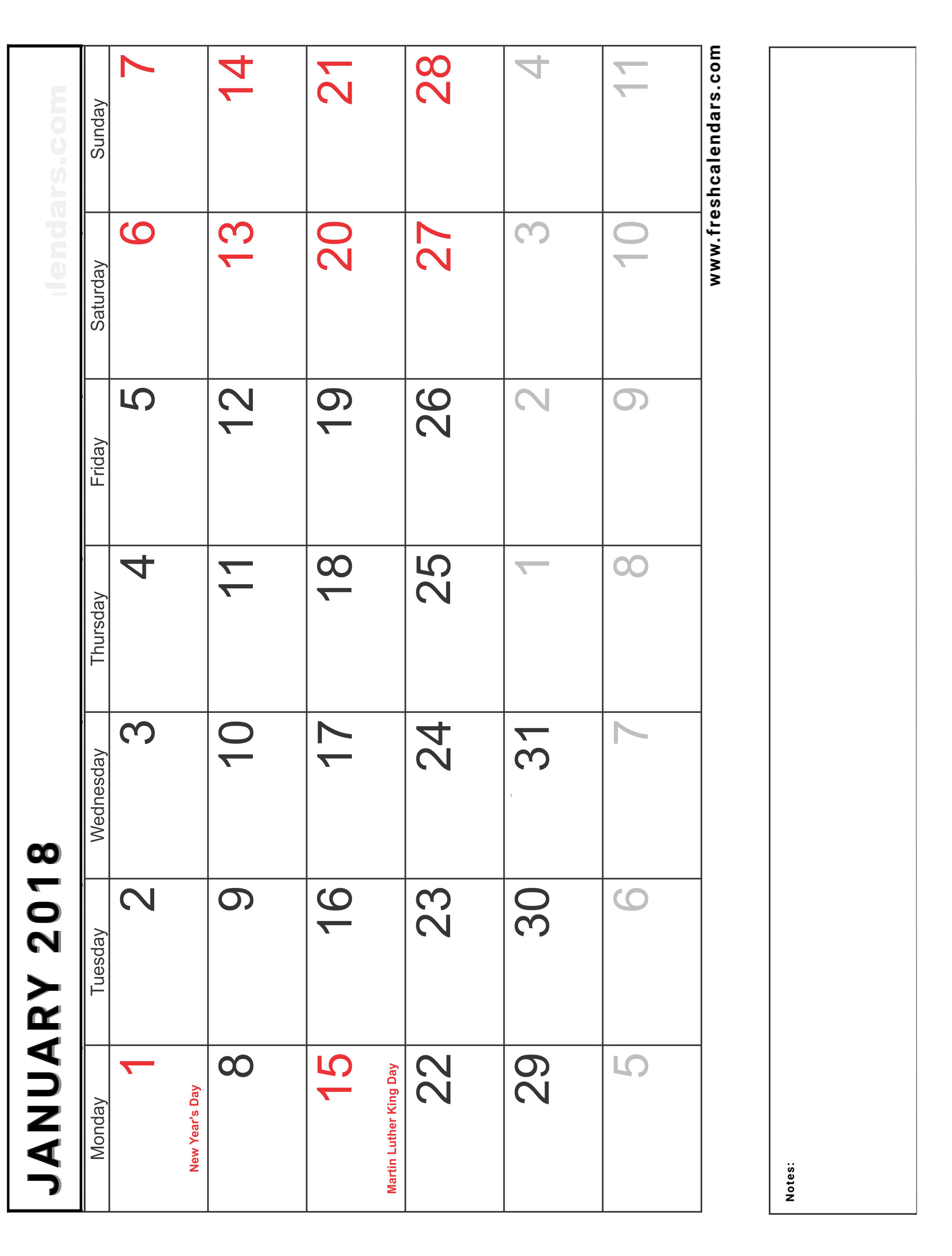 Vertical Blank January 2018 Calendar Printable With Holidays and Notes