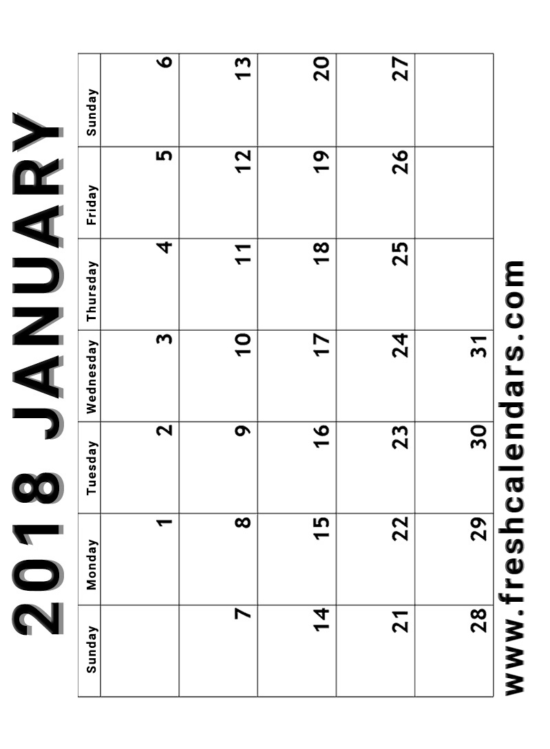 Vertical Simple and Strong January 2018 Calendar Printable Template