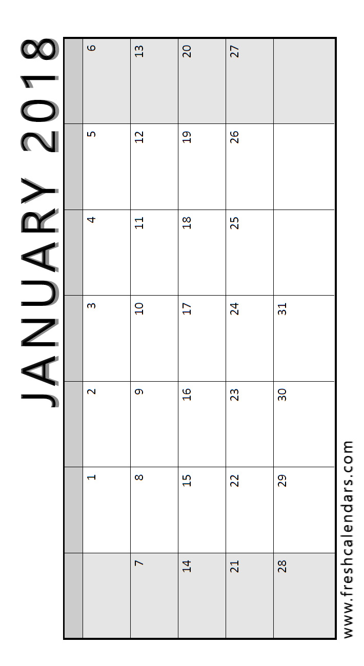 Vertical Wide Layout Printable 2018 January Calendar Template Download