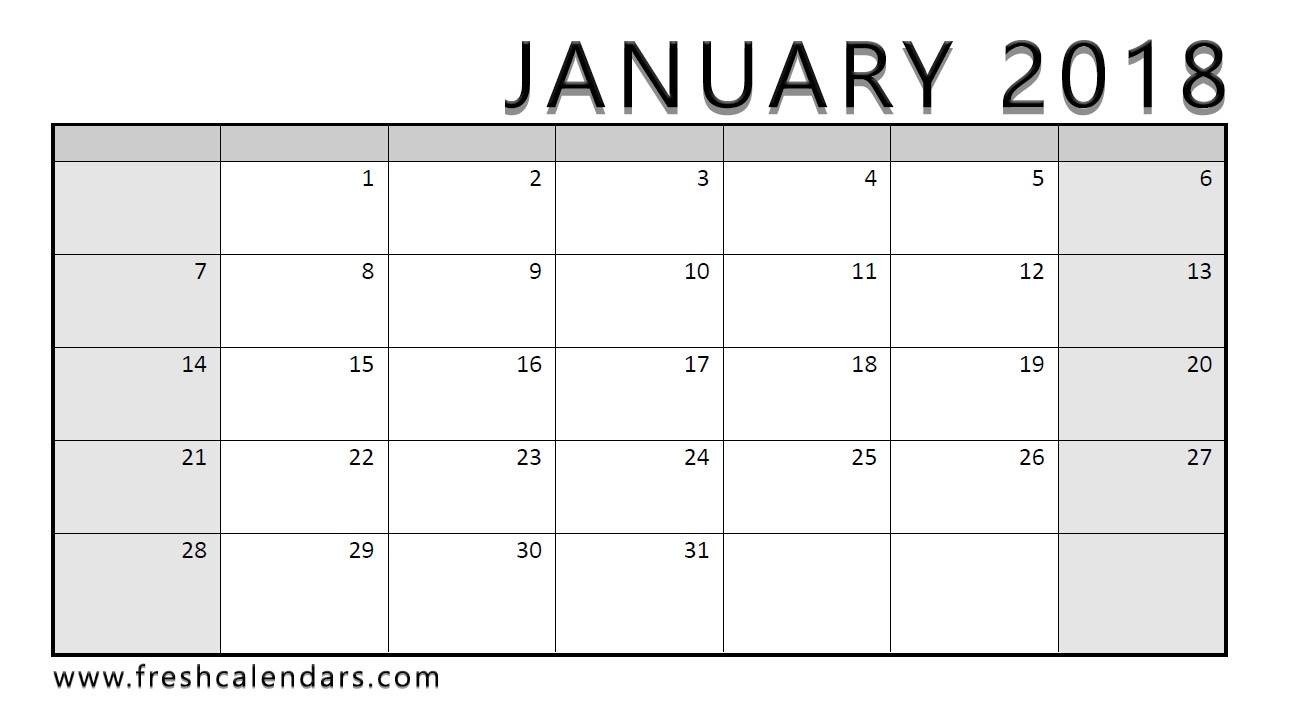 Wide Layout Printable 2018 January Calendar Template Download