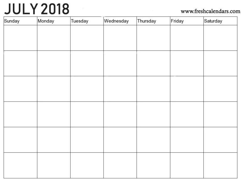 July 2018 Calendar Printable Templates
