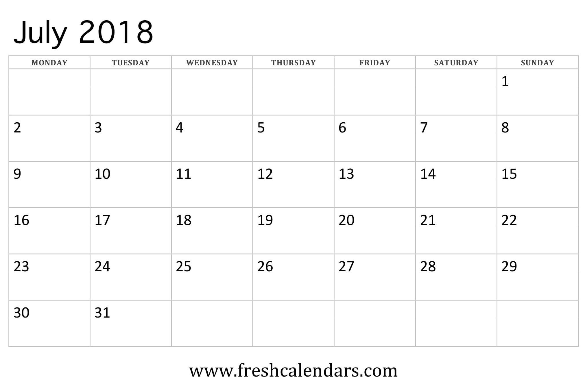 July 2018 Calendar (week starts on monday)