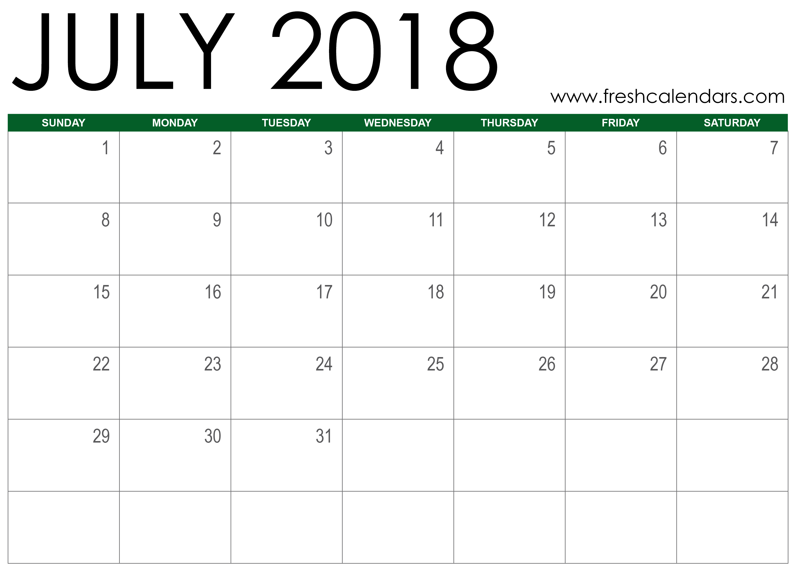 July 2018 Calendar Printable Online Green