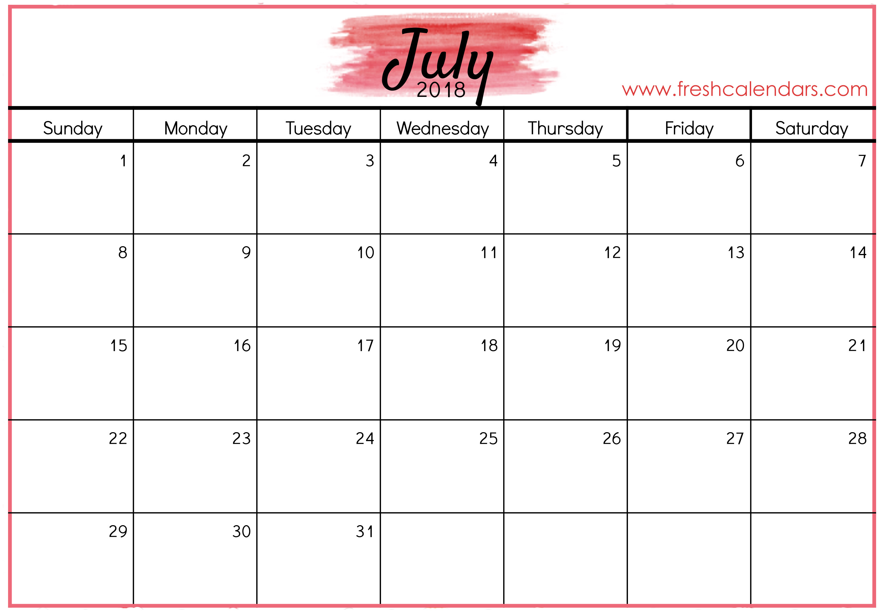 july 2018 calendar red templates