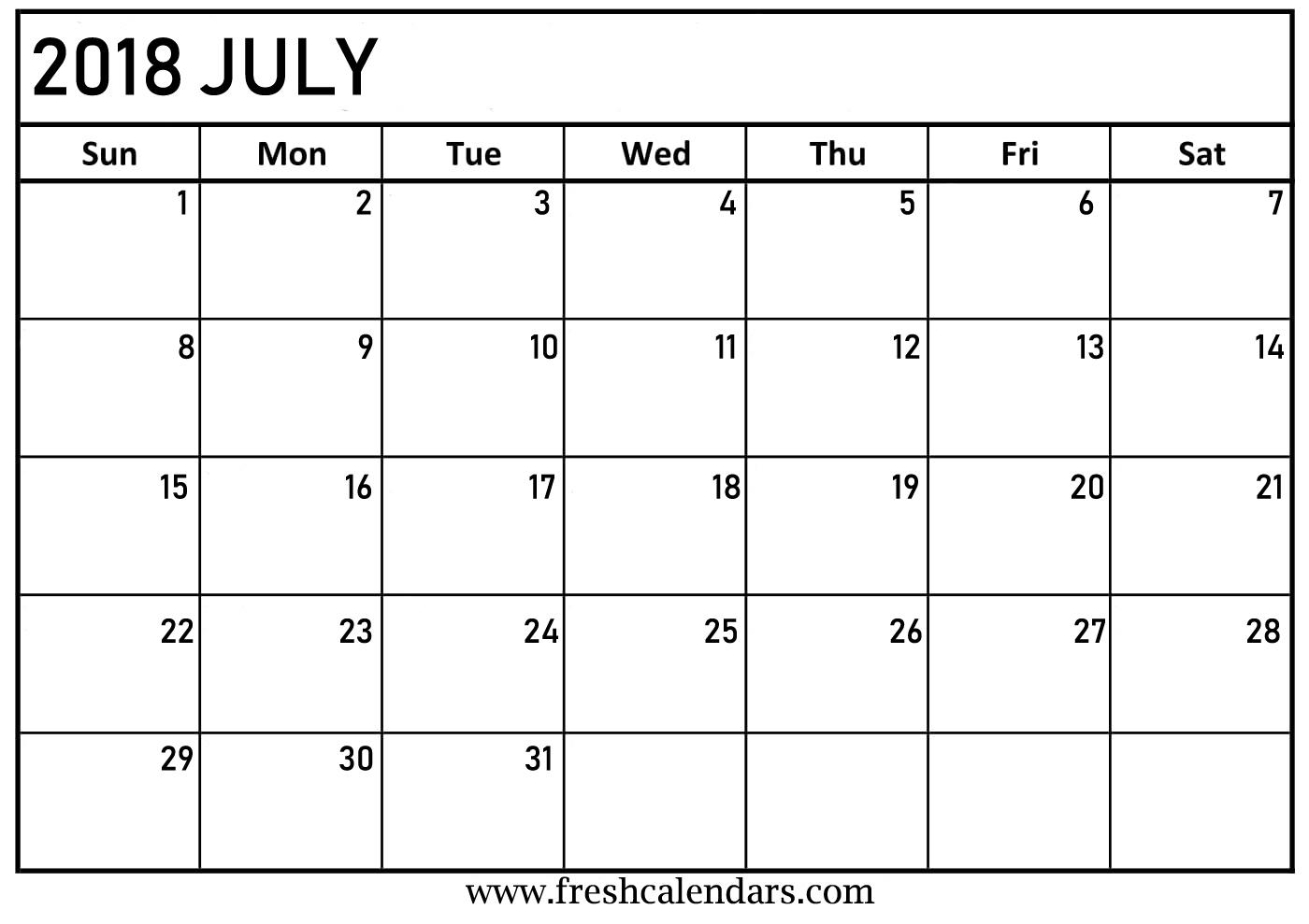 july 2018 free calendar