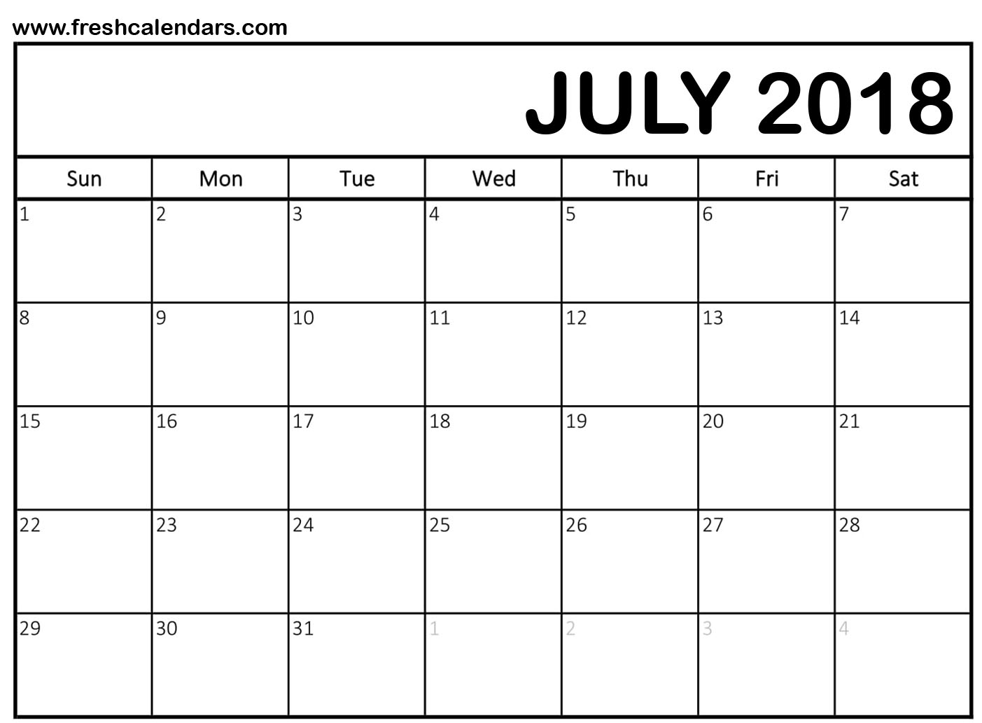 July 2018 Calendar Printable Templates