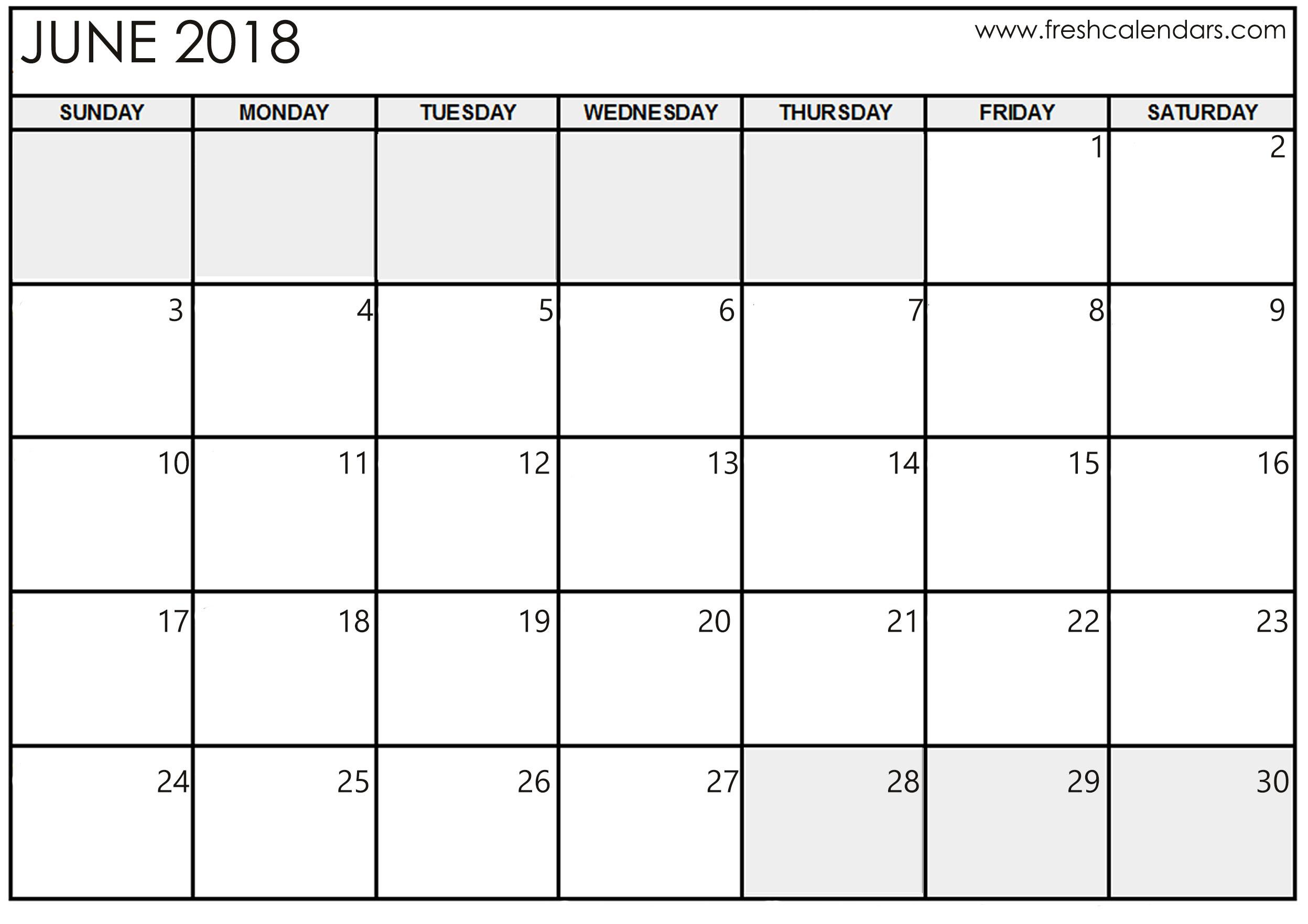 june 2018 calendar printable templates