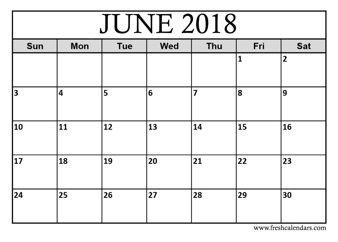Download June 2018 Calendar Printable
