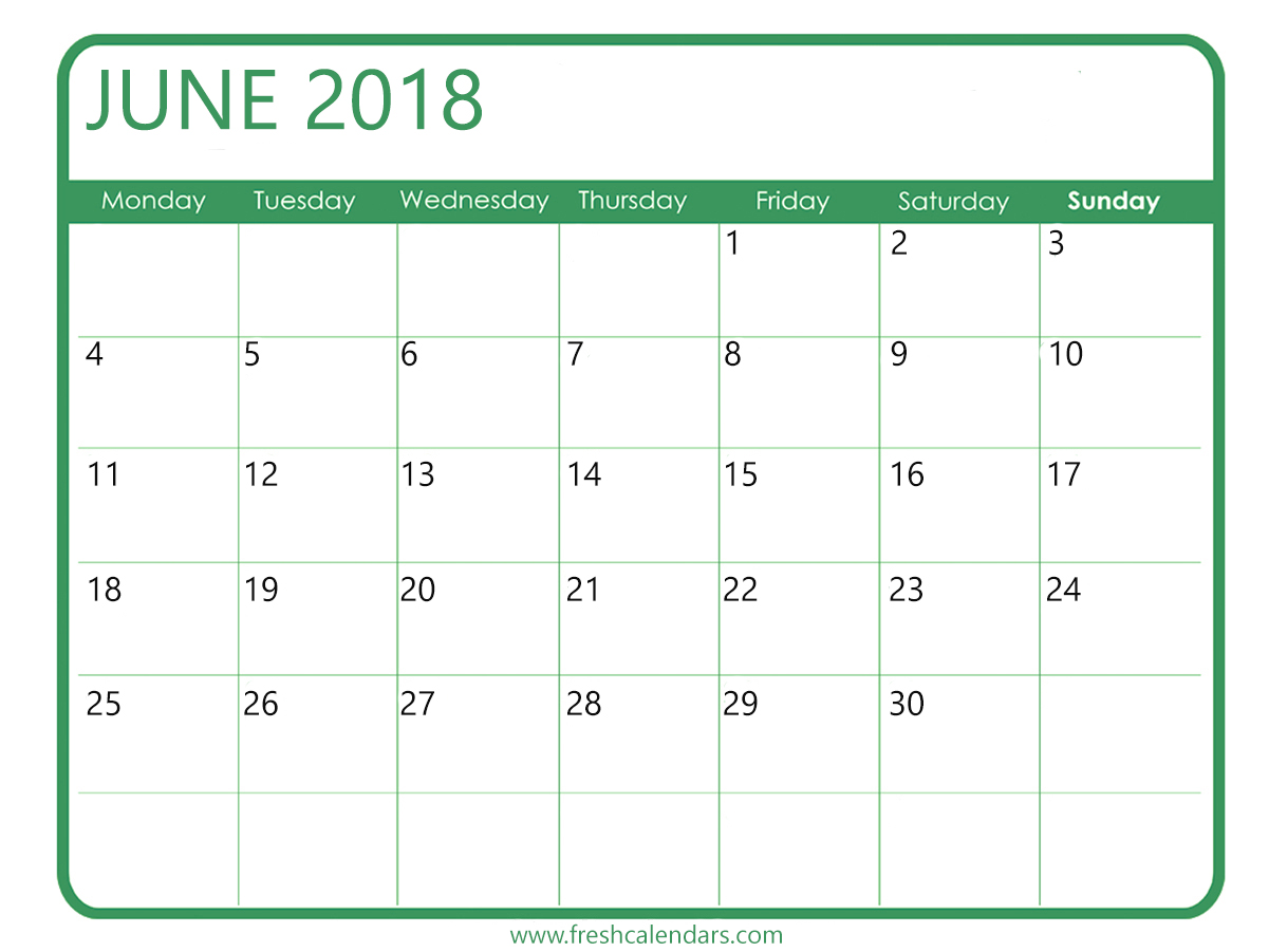 Green June 2018 Calendar Templates