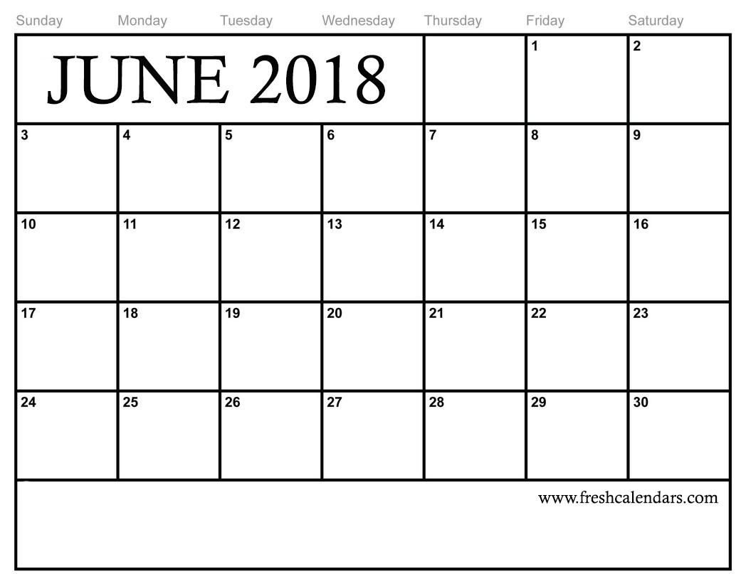 picture regarding Free Printable June Calendar referred to as June 2018 Calendar Printable - New Calendars
