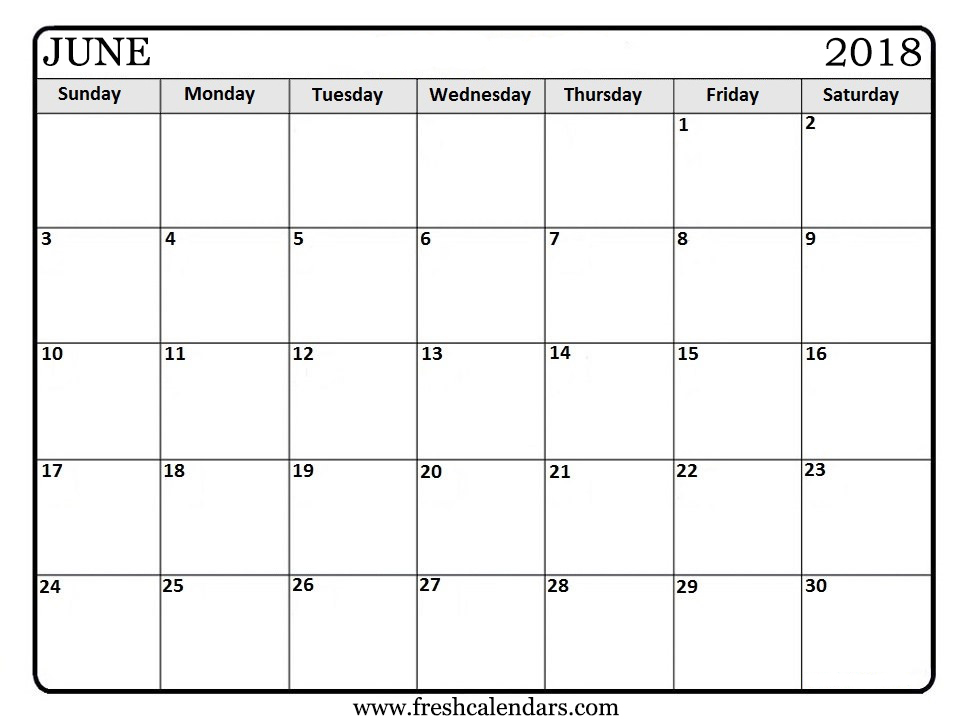 June  Printable Calendar Templates