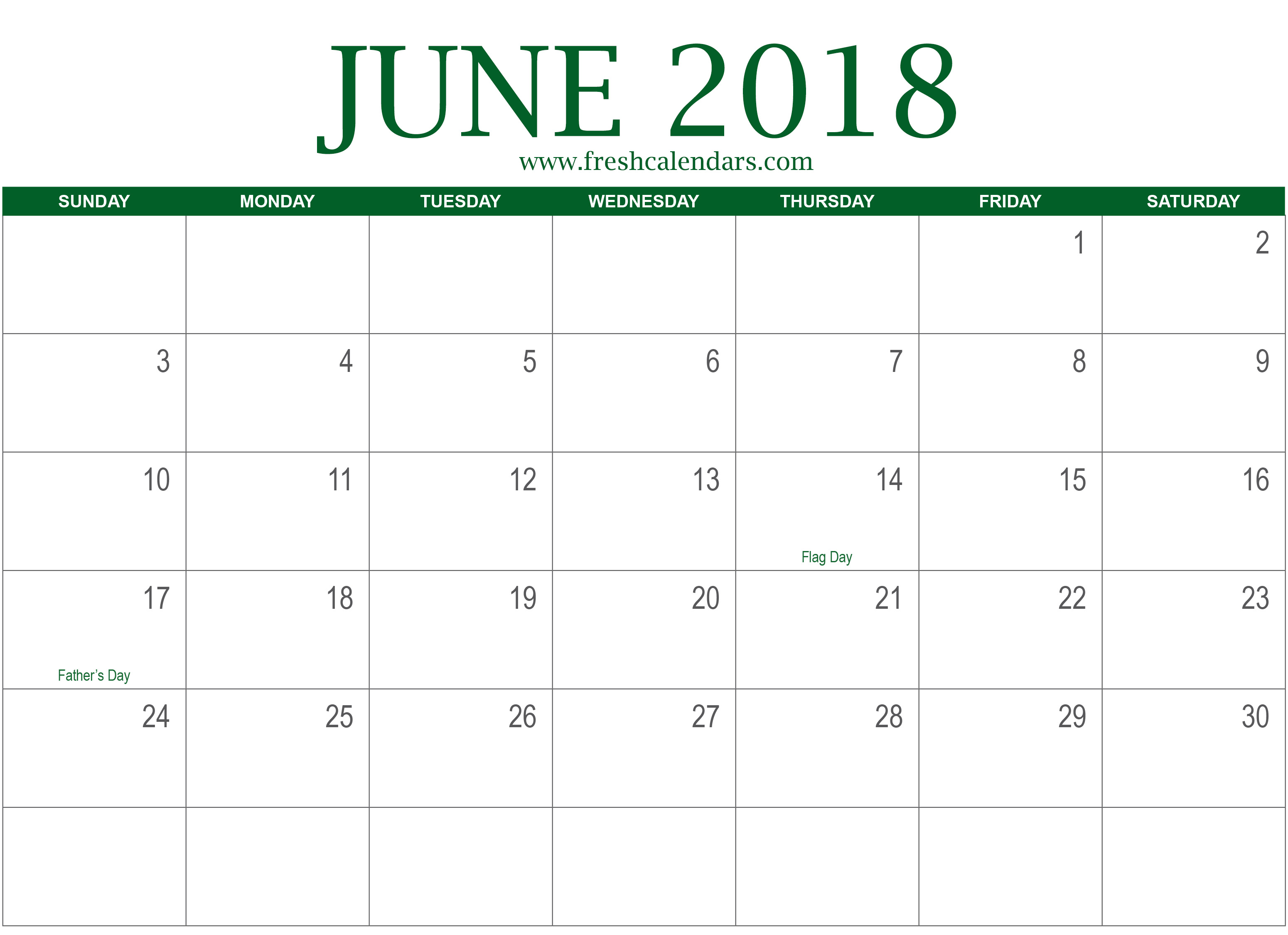green june with holidays 2018