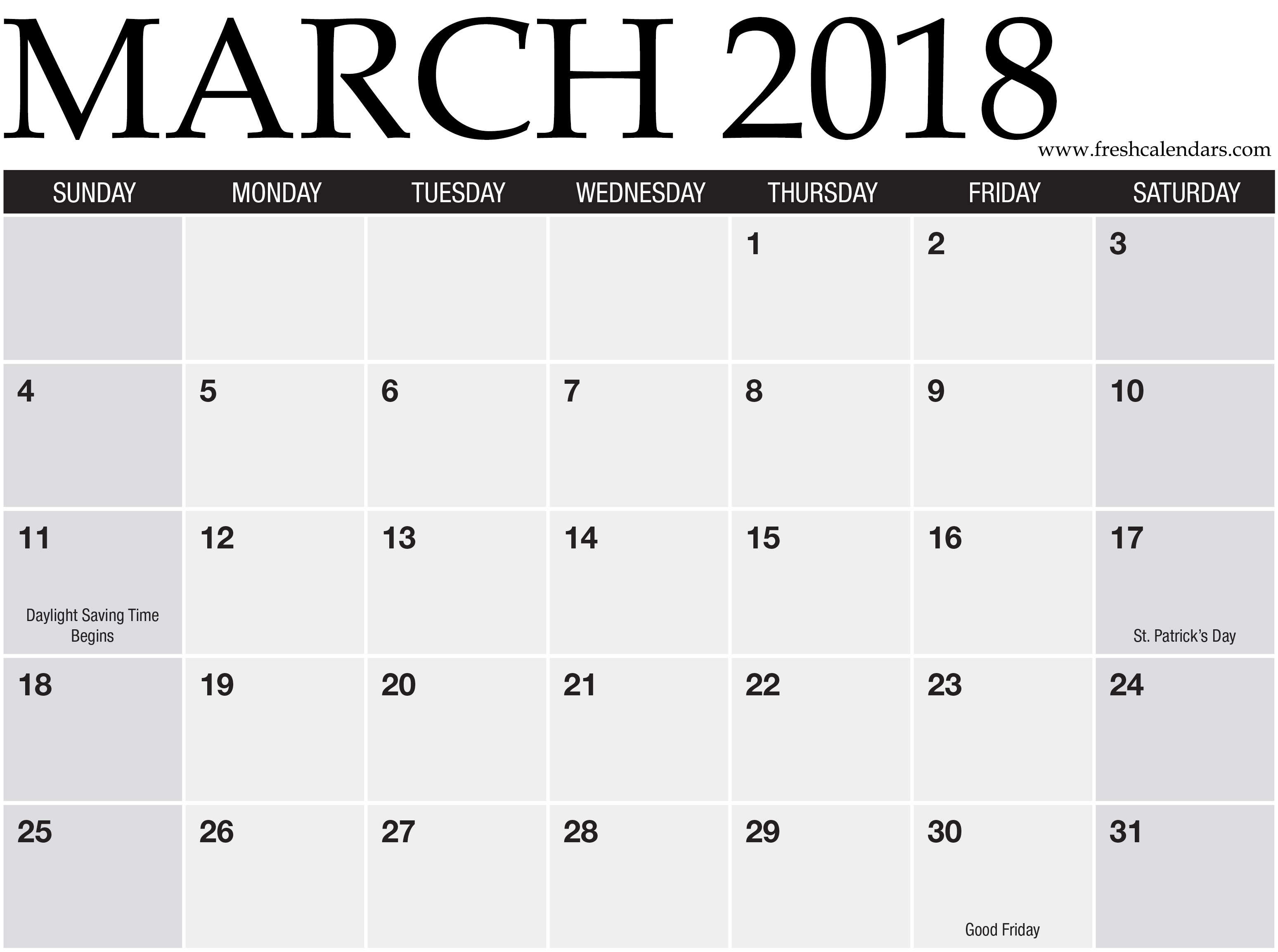 March 2018 Printable Calendar Templates