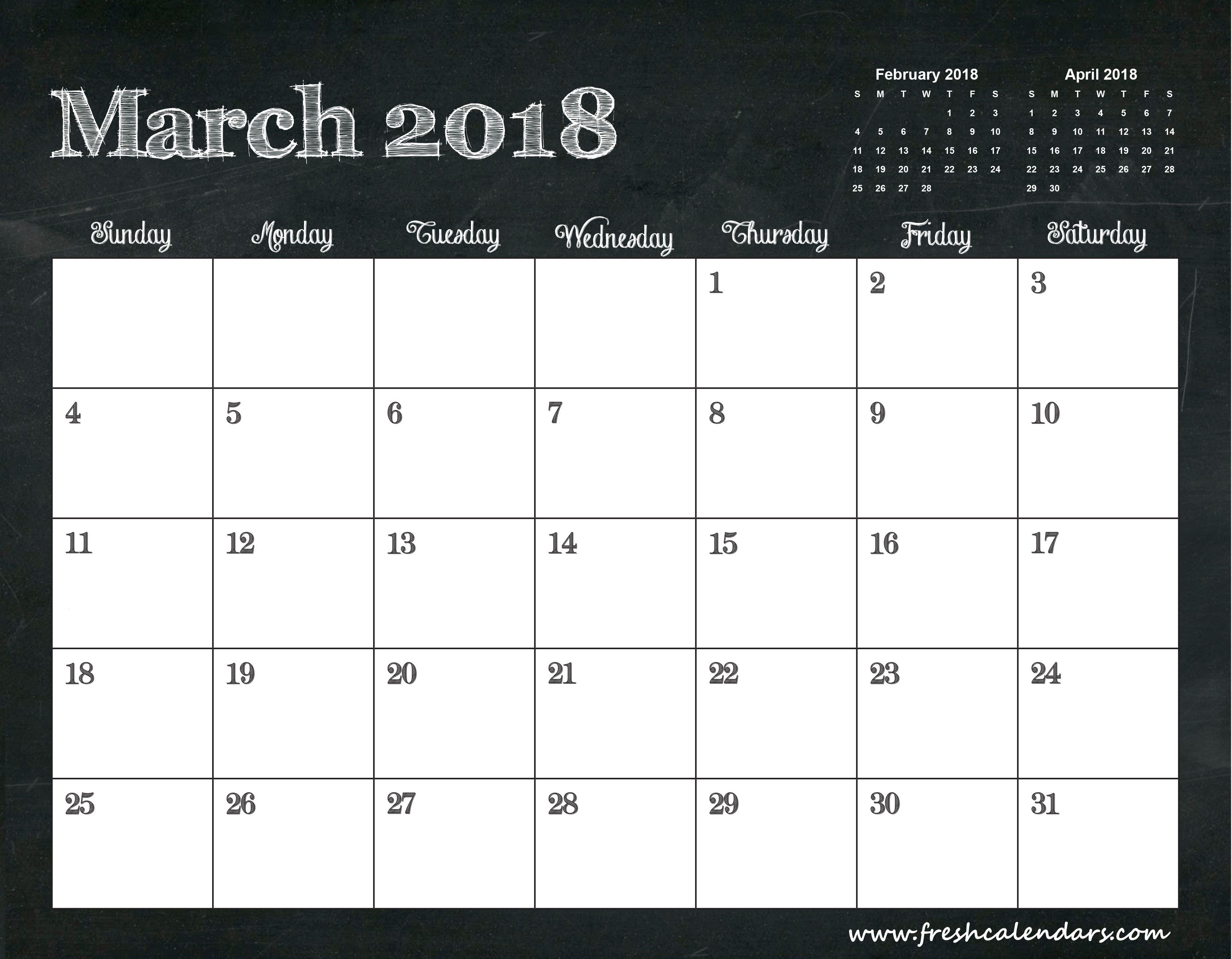 2018 March Calendar Printable 3 Months Template