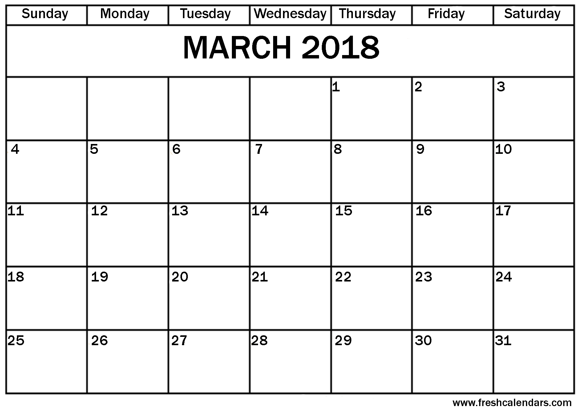 2018 march calendar templates printable
