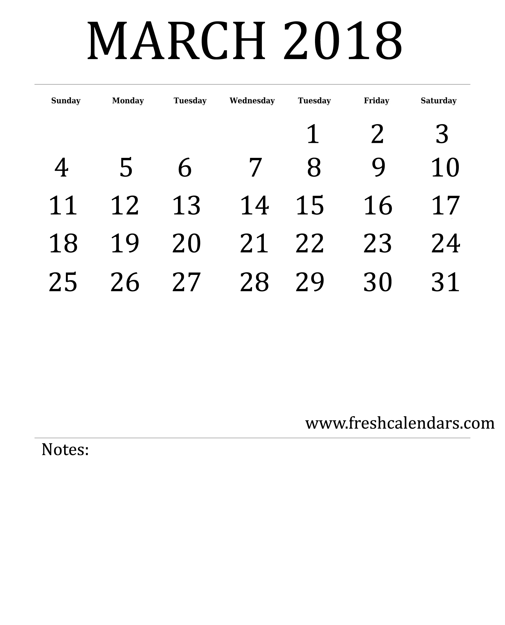 Free Printable Template March 2018 Calendar Bold Style