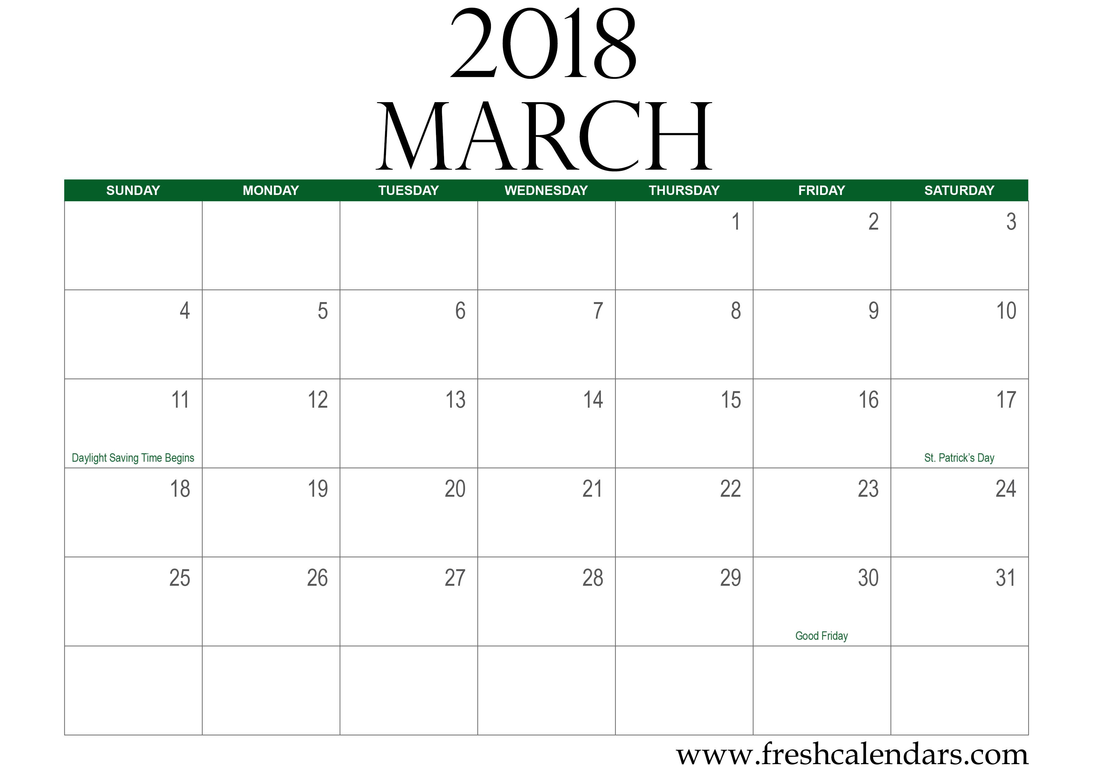 march 2018 calendar green