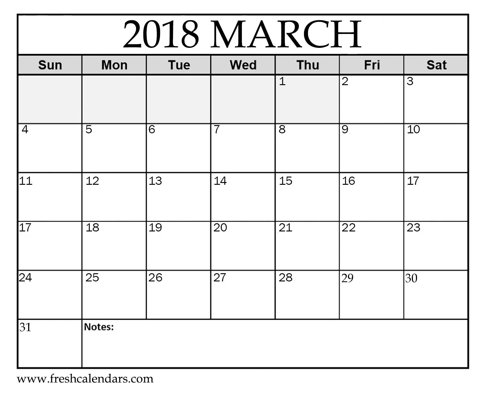 free 10 blank march 2018 calendar printable template