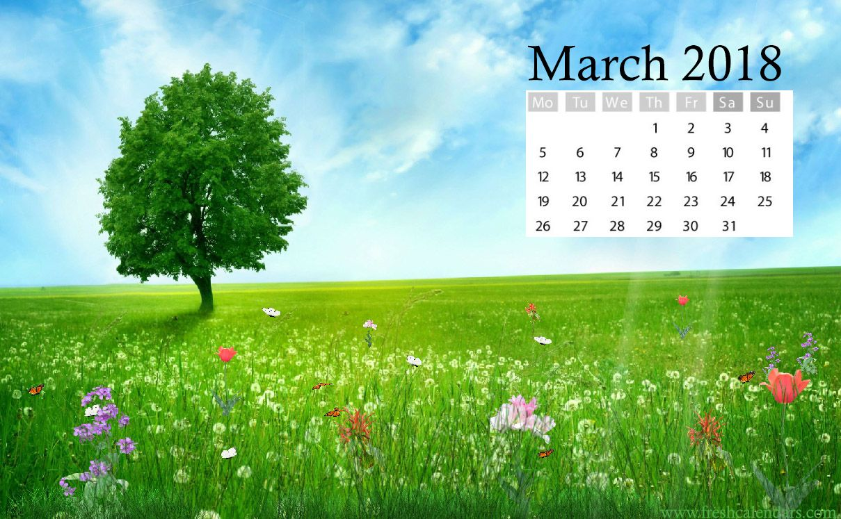 March 2018 Calendar Wallpaper