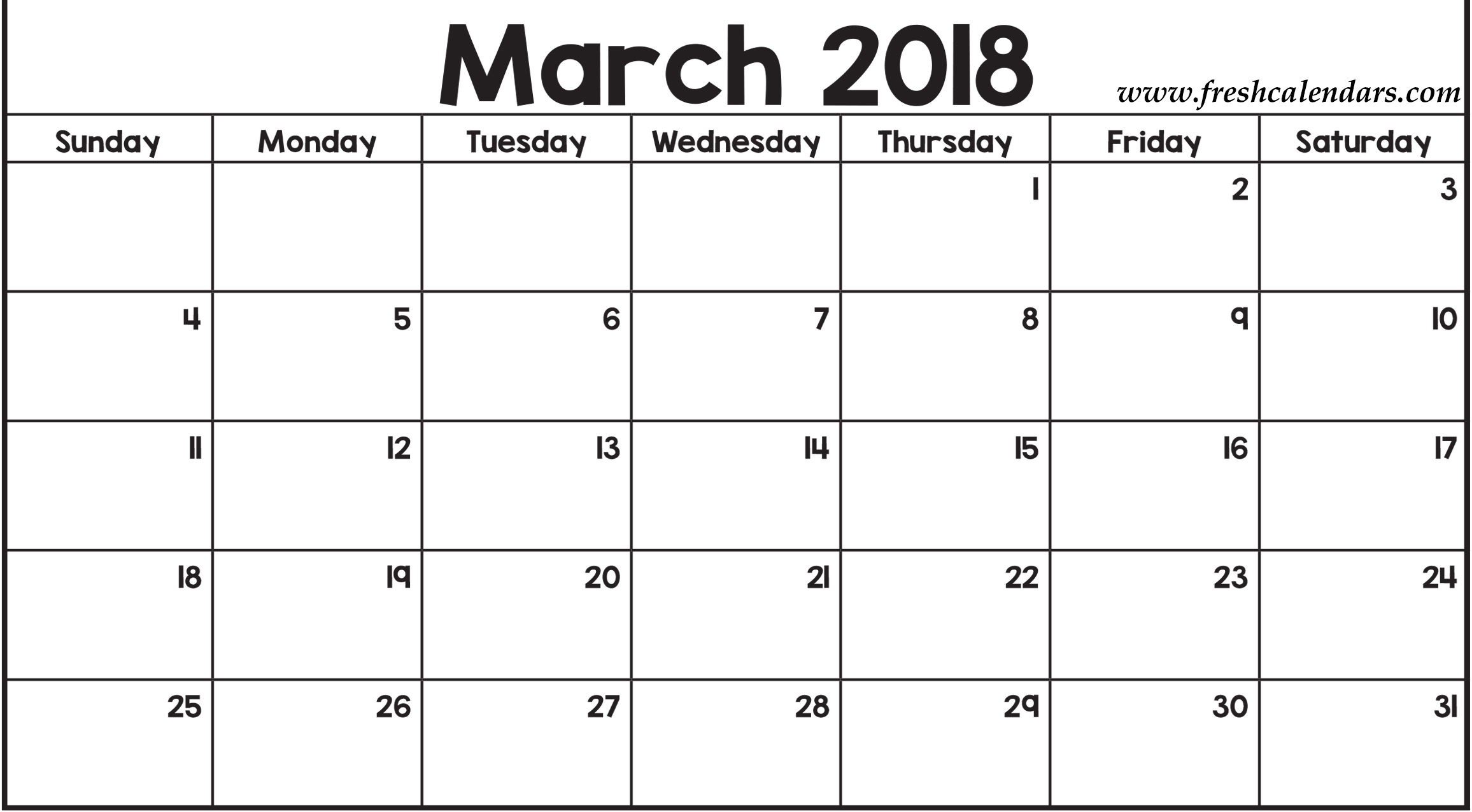 Calendar March 2018 : Blank march calendar printable templates