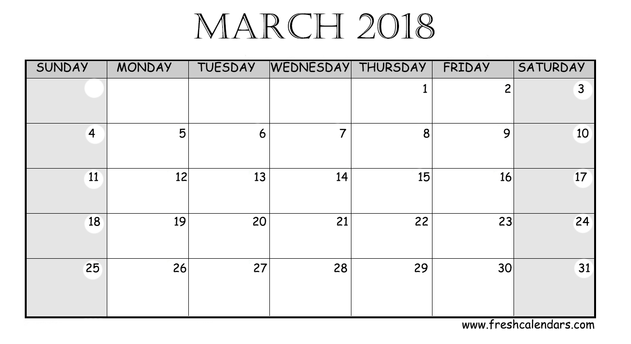 wide layout printable 2018 march calendar template download