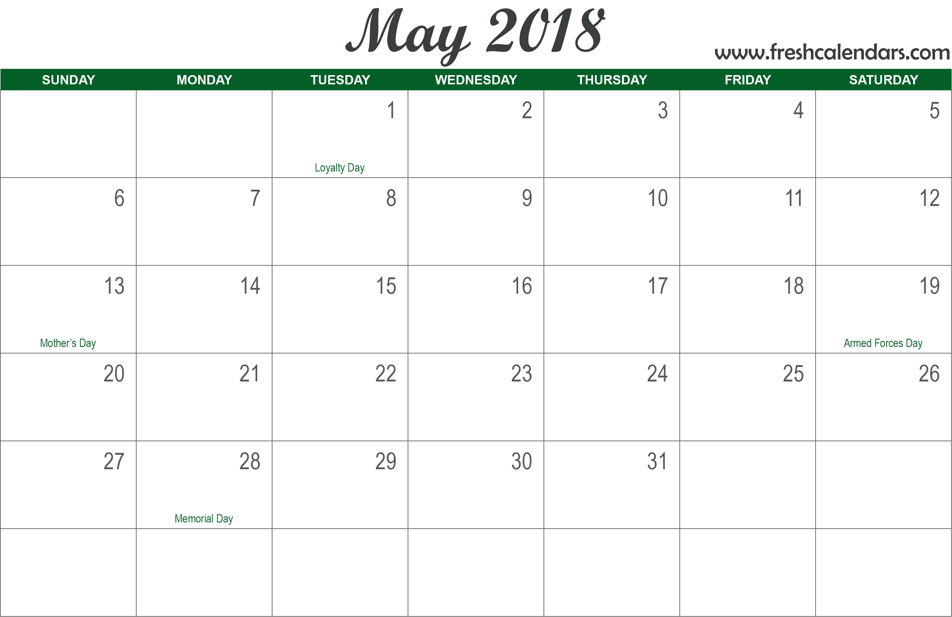 Blank May 2018 Calendar Printable Templates