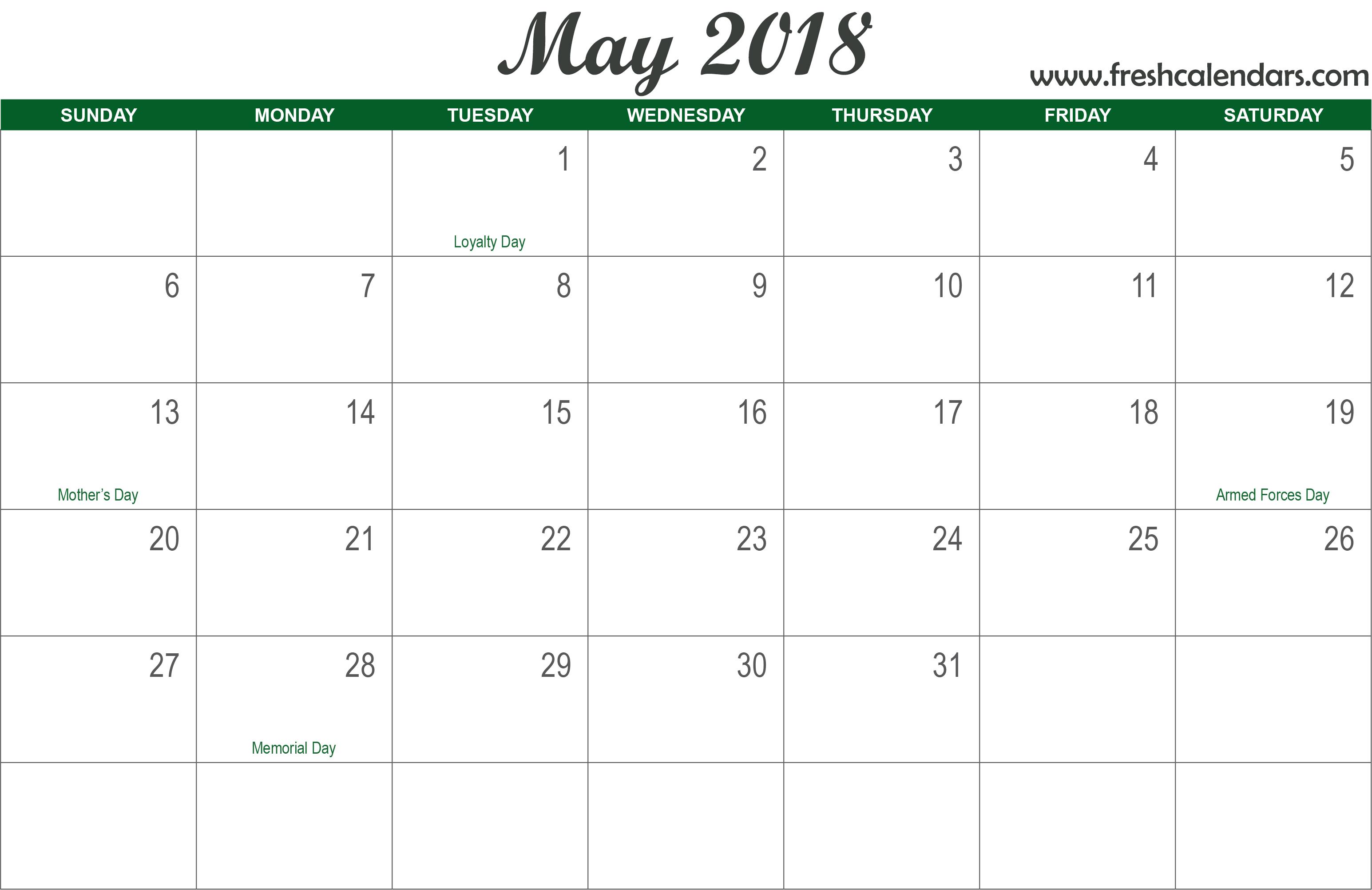 2018 may calendar italic template