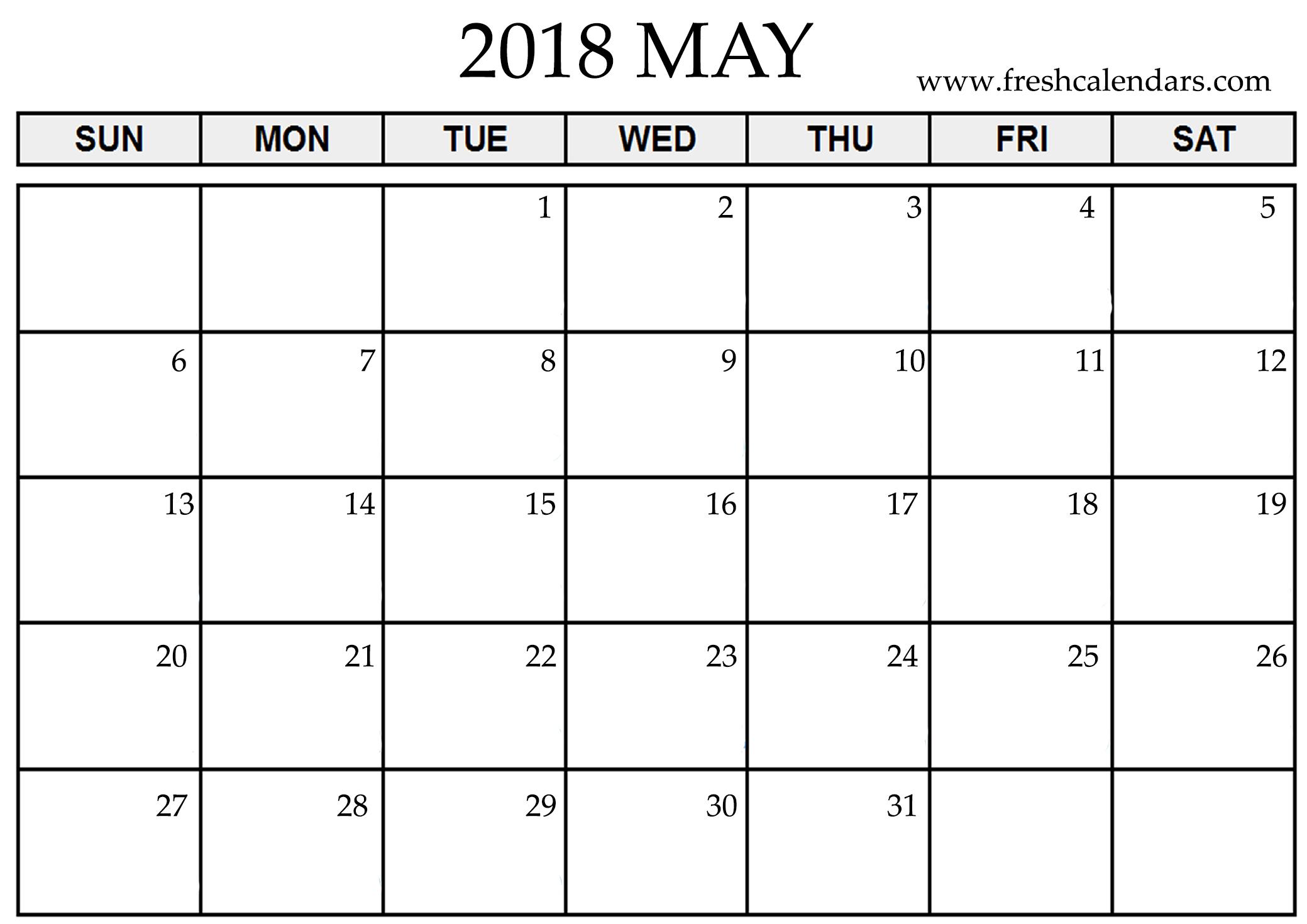 2018 may calendar