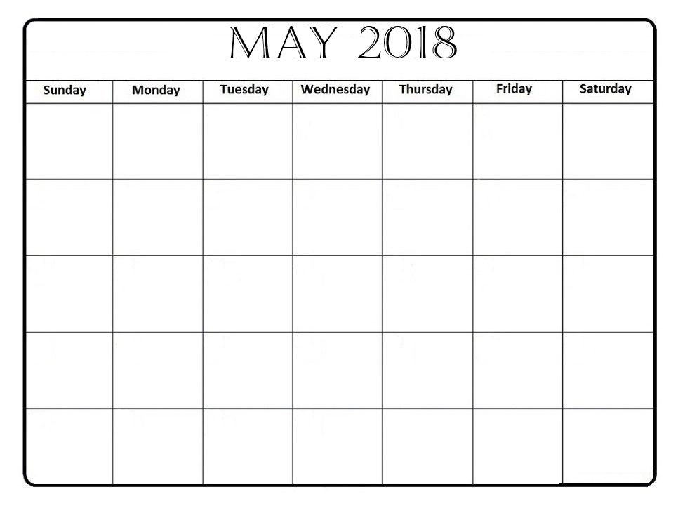 May Calendar Blank Template : Printable may calendar template pdf download with