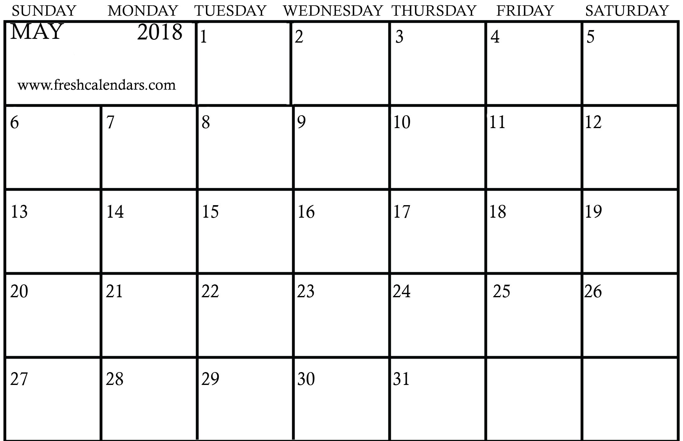blank printable calendar 2018 may