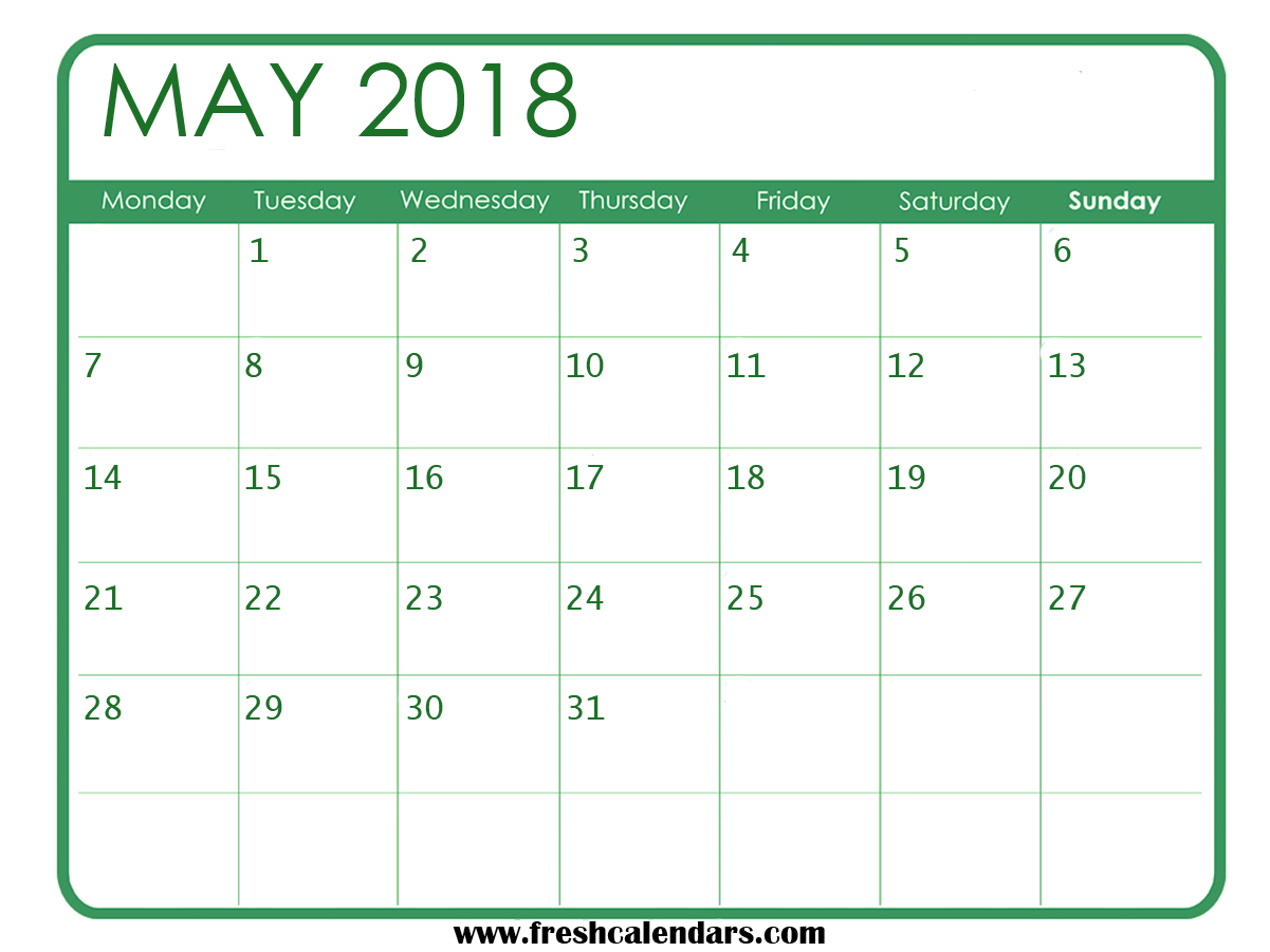 Free Download May Calendar 2018 Highlight
