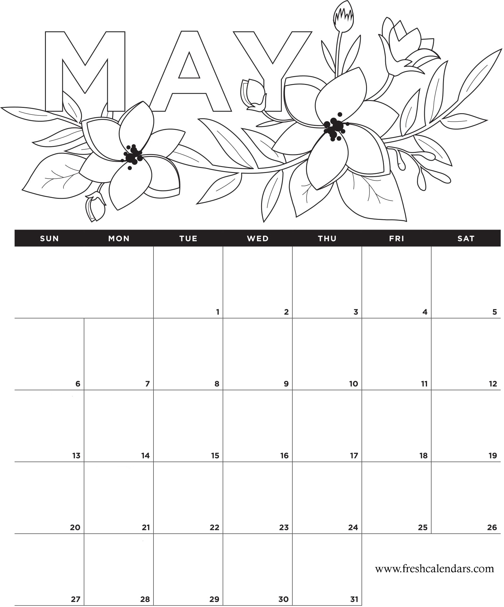 May 2018 Calendar Flowers Wallpaper
